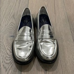 cole haan metalic loafers